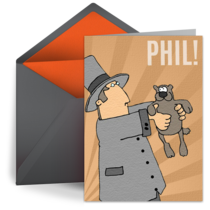 Cartoon Groundhog card image