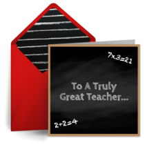 Chalkboard Equation Thank You card image