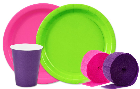 colorful party supplies