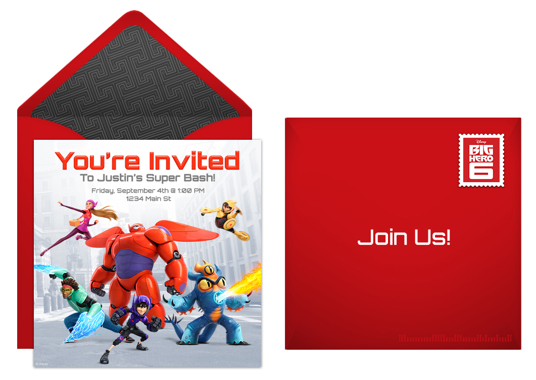Disney Big Hero 6 Free Online Invitation