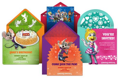 free chuck e. cheese party online invitaitons