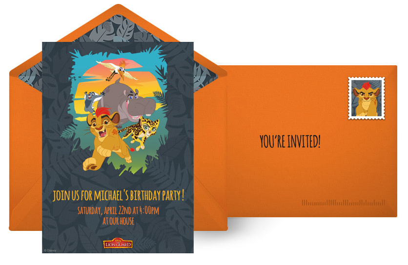 Free Lion Guard Online Invitations