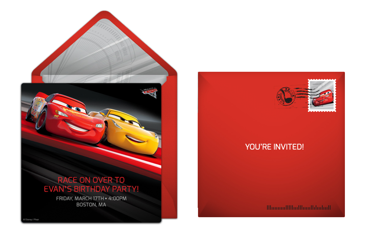 Send Cars 3 online invitations