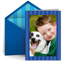 Blue Stripe Photo Frame card image