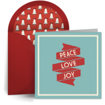 Retro Peace Love Joy card image