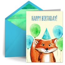 Birthday Fox card image