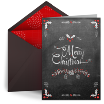 Christmas Holly Chalk card image