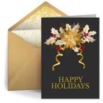 Business Gold Poinsettia card image