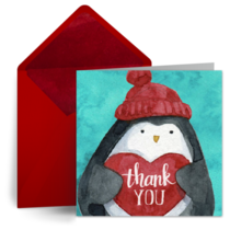 Holiday Penguin Thanks card image