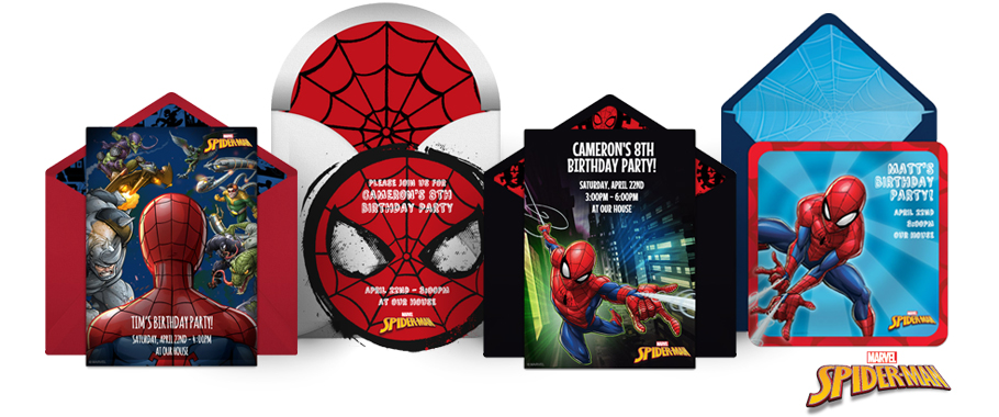 SpiderMan Online Invitations Punchbowl Punchbowl