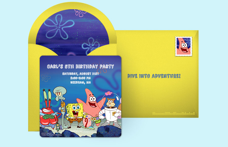 Free SpongeBob Invitations SpongeBob SquarePants Online Invitations