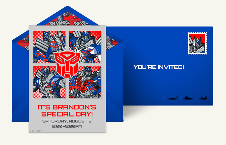 Free transformers invitations transformers online invitations plan a optimus prime party filmwisefo